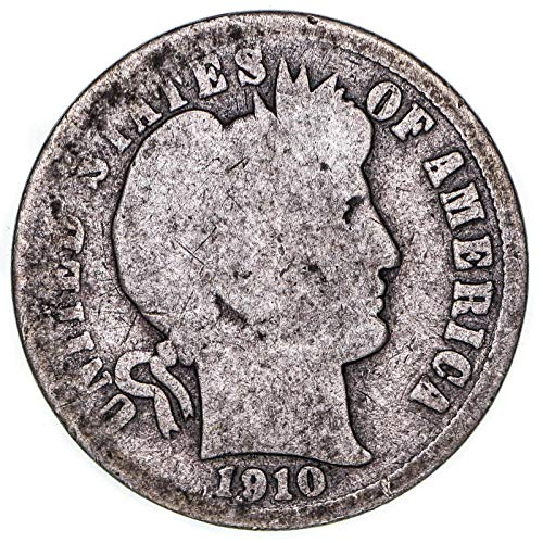 1910 Barber Dime 90% Silver About Good