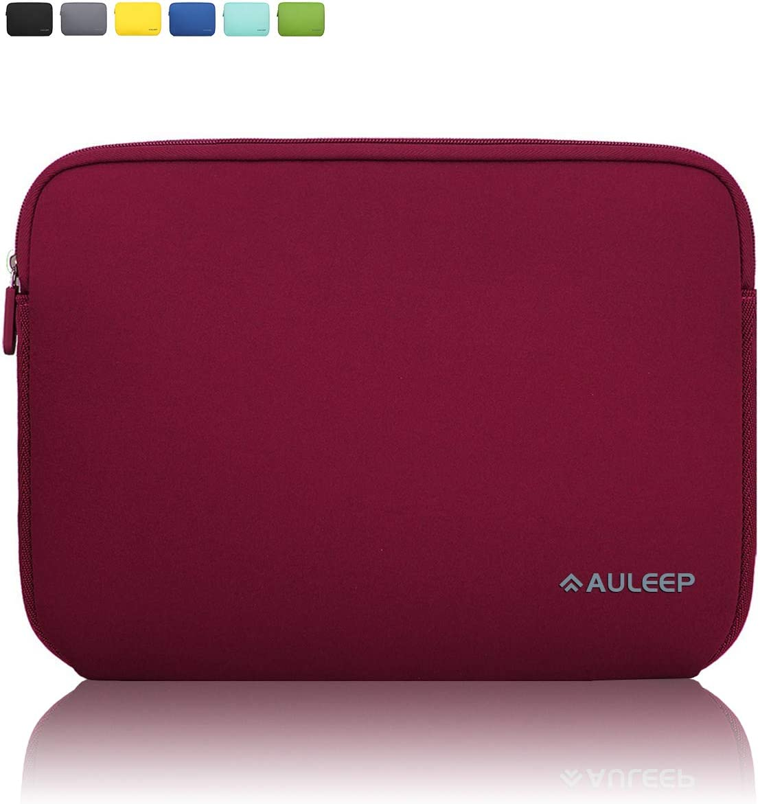 AULEEP 11-12 Inch Laptop Sleeves, Neoprene Notebook Computer Pocket Tablet Carrying Sleeve/Water-Resistant Compatible Laptop Sleeve for Acer/Asus/Dell/Lenovo/HP, Wine Red