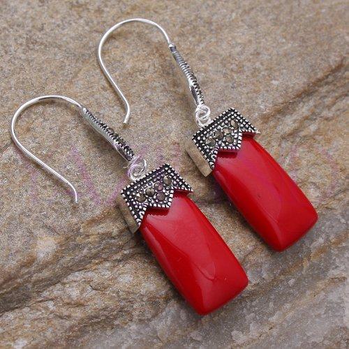 Qiyun Vintage Style Rectangle Geometric Bead Royal Crown Top .925 Sterling Silver Hook Dangle Earrings - Coral Red