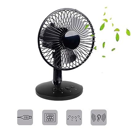 3 Speeds USB Oscillating Fan Portable Table Fan Mini USB Desktop Fan USB & Battery Powered