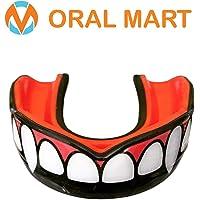 Oral Mart Protège-Dents avec étui ventilé pour Le karaté, la Boxe, Le Combat, Le Taekwondo, Le Rugby Fang/Vampire Noir et Rouge