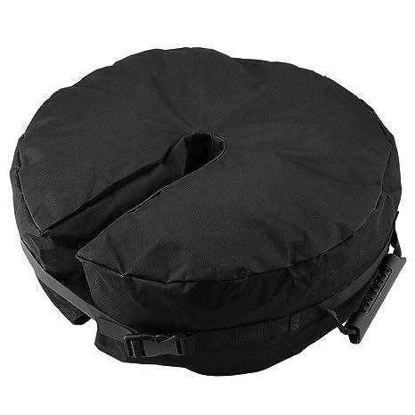 Paraguas Redondo Bolsa de Peso Base, Sombrilla Negra Base Soporte Fácil Instalación Peso Bolsa Sombrillas