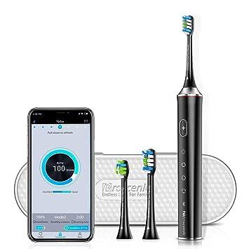 Cepillo de Dientes Eléctrico Sónico Proscenic con Bluetooth APP, 4 modos con 2 cepillos de