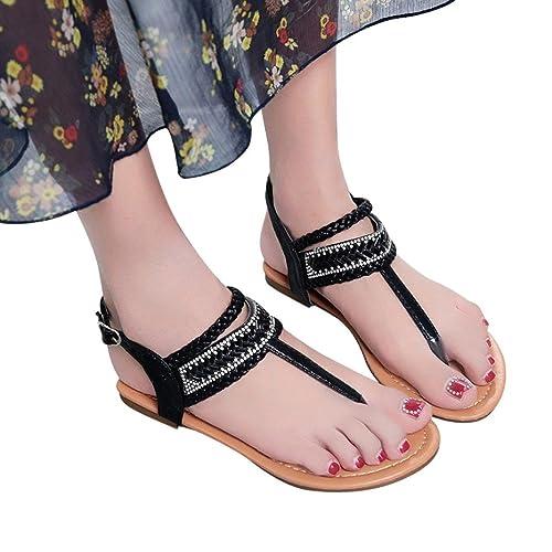 cb542cdbe Fheaven Summer Pinch Casual Bohemian Diamond Sandal Women Gladiator Sandals  Roman Flats (US 5.5