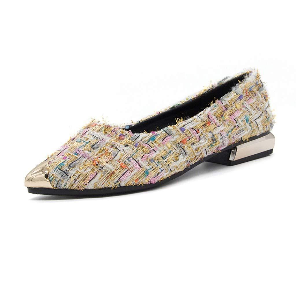 Chaussures Pour Femmes À La Mode En MéTal MéLangé Couleur Shallow Unique Point Narrow Chaussures