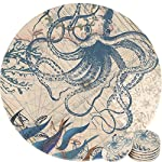 Enkore Coasters Set of 6 - Absorbent Ceramic Stone Keep Spill Off Table, Coaster for Drinks in Vibrant Colors and Cork Back Pad - Octopus On World Map Novelty Design with NO Holder 6