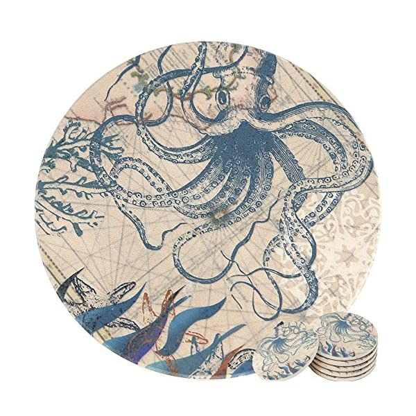 Enkore Coasters Set of 6 - Absorbent Ceramic Stone Keep Spill Off Table, Coaster for Drinks in Vibrant Colors and Cork Back Pad - Octopus On World Map Novelty Design with NO Holder 3