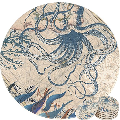 ENKORE Coasters Set of 6 - Absorbent Natural Ceramic Thirsty Stone Keep Spill Off Table, Coaster For Drinks With Vibrant Colors And Cork Backing - Octopus On World Map Novelty Design Without Holder