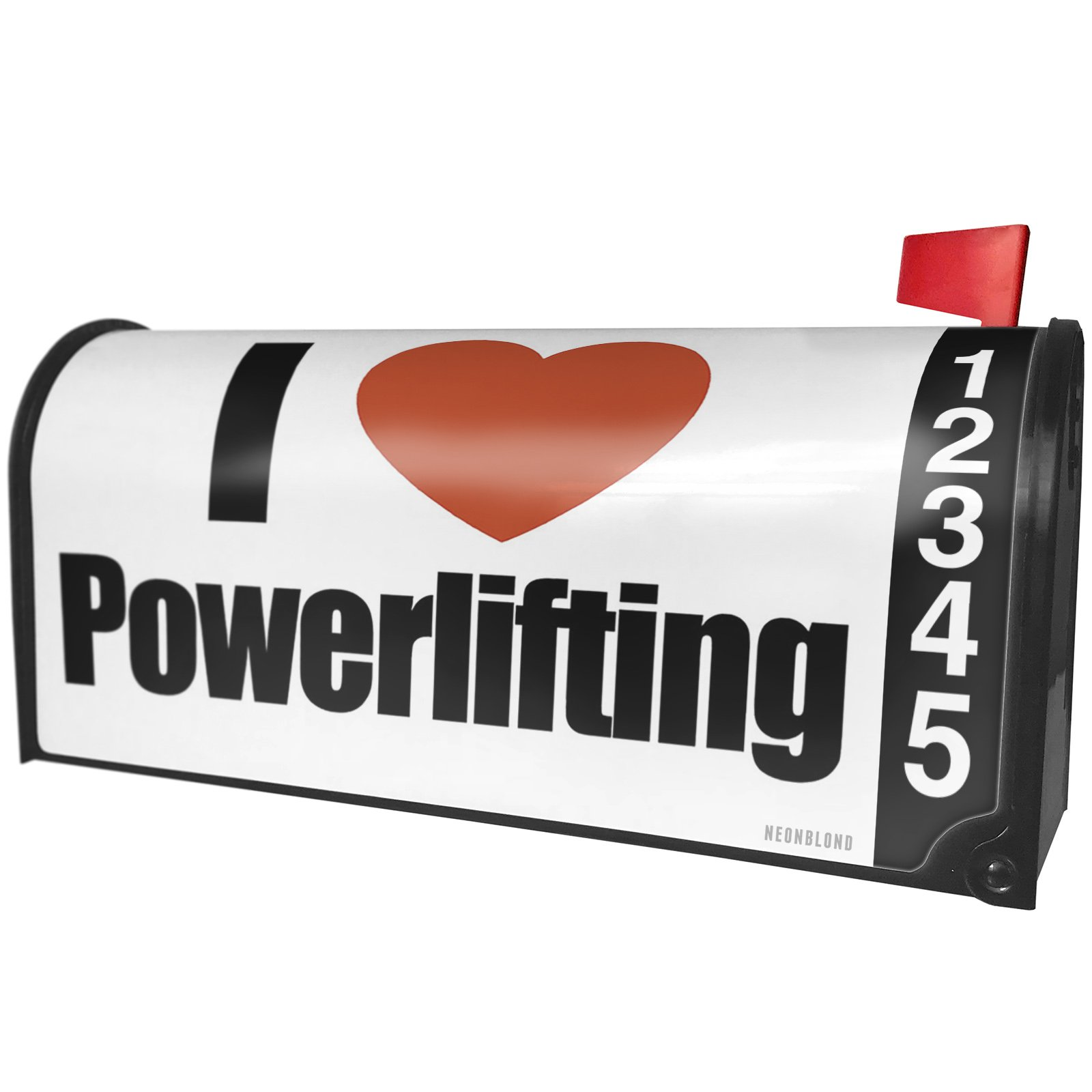 NEONBLOND I Love Powerlifting Magnetic Mailbox Cover Custom Numbers