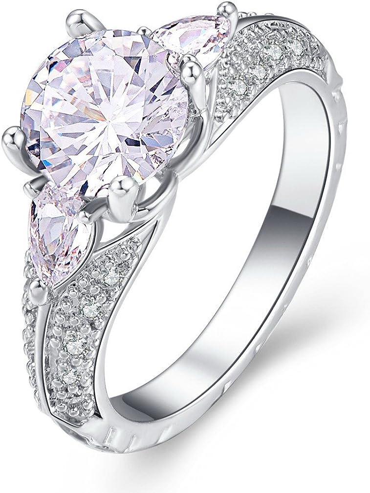 YAZILIND Promise Ring Beautiful Cubic Zirconia Platinum Rhinestone Plated Wedding Engagement para Mujeres