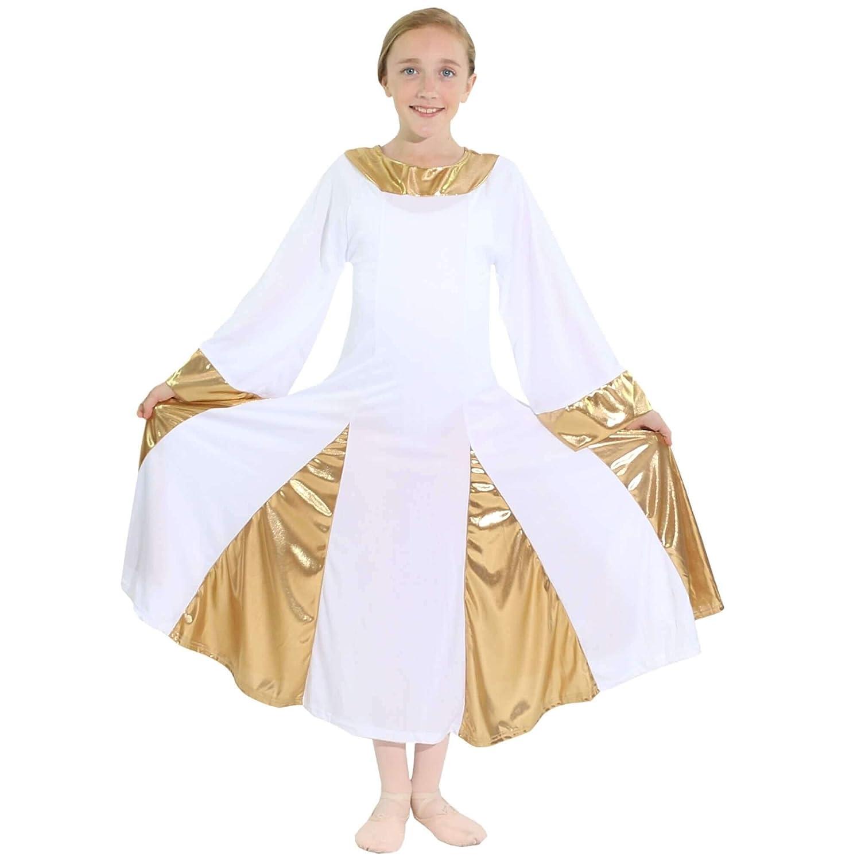 Danzcue DRESS ガールズ B06XPYMYJ3 ホワイト - ゴールド 43813