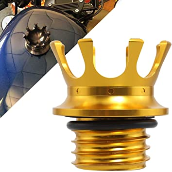 YHMTIVTU Motorcycle Fuel Tank Cap Aluminum King Crown Gas Cap Right-hand Thread Fit For for Harley Sportster XL 883 1200 48 Dyna Road King Softail Black