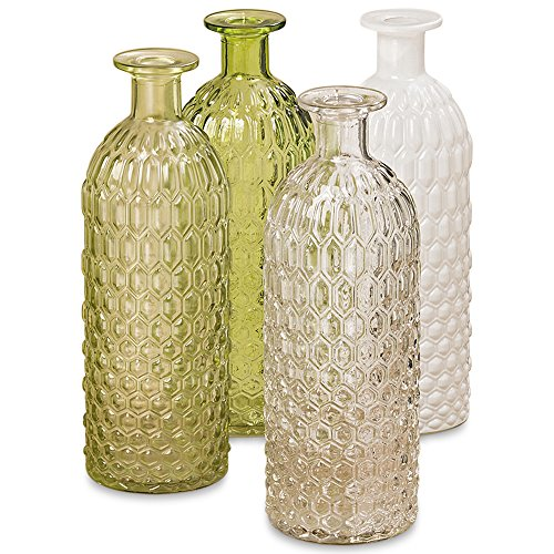 (Whole House Worlds The Farmer's Market Hobnail Vases, Set of 4, Rustic Greens, Milk White and Clear, Vintage Artisinal Style, Pressed Glass, 8 Inches)