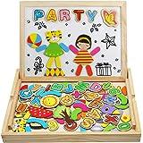 Puzzle Magnetico Legno Giocattolo di Legno Bambini con Lavagna Doppio Lato, Apprendimento Montessori Educativo Bambini 3 4 5 Anni, 93 Pezzi