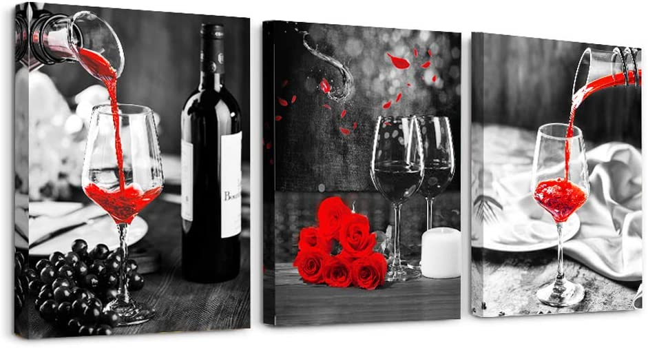 Kitchen Wall Art for dining room Wall Decor Still life Black and white Canvas art Prints Wine barrel bar Red rose painting modern family wall decorations restaurant bedroom Decor Artwork 3 piece set