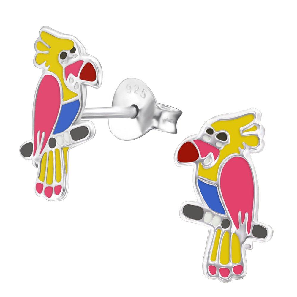 bleu jaune argent sterling 925 Laimons Kids Bijou pour enfant boucles doreilles pour enfant perroquet oiseau pink