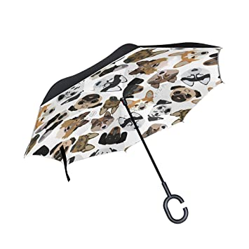 Mnsruu - Paraguas invertido para Perros con Dibujos Animados, Doble Capa, Paraguas Plegable,