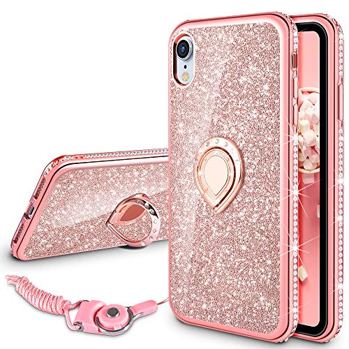 VEGO Case Compatible with iPhone XR 6.1 inches, iPhone XR Glitter Case Bling Sparkly Fashion Diamond Rhinestone with Kickstand Ring Grip Holder for Girls Women for iPhone XR (Rose Gold)