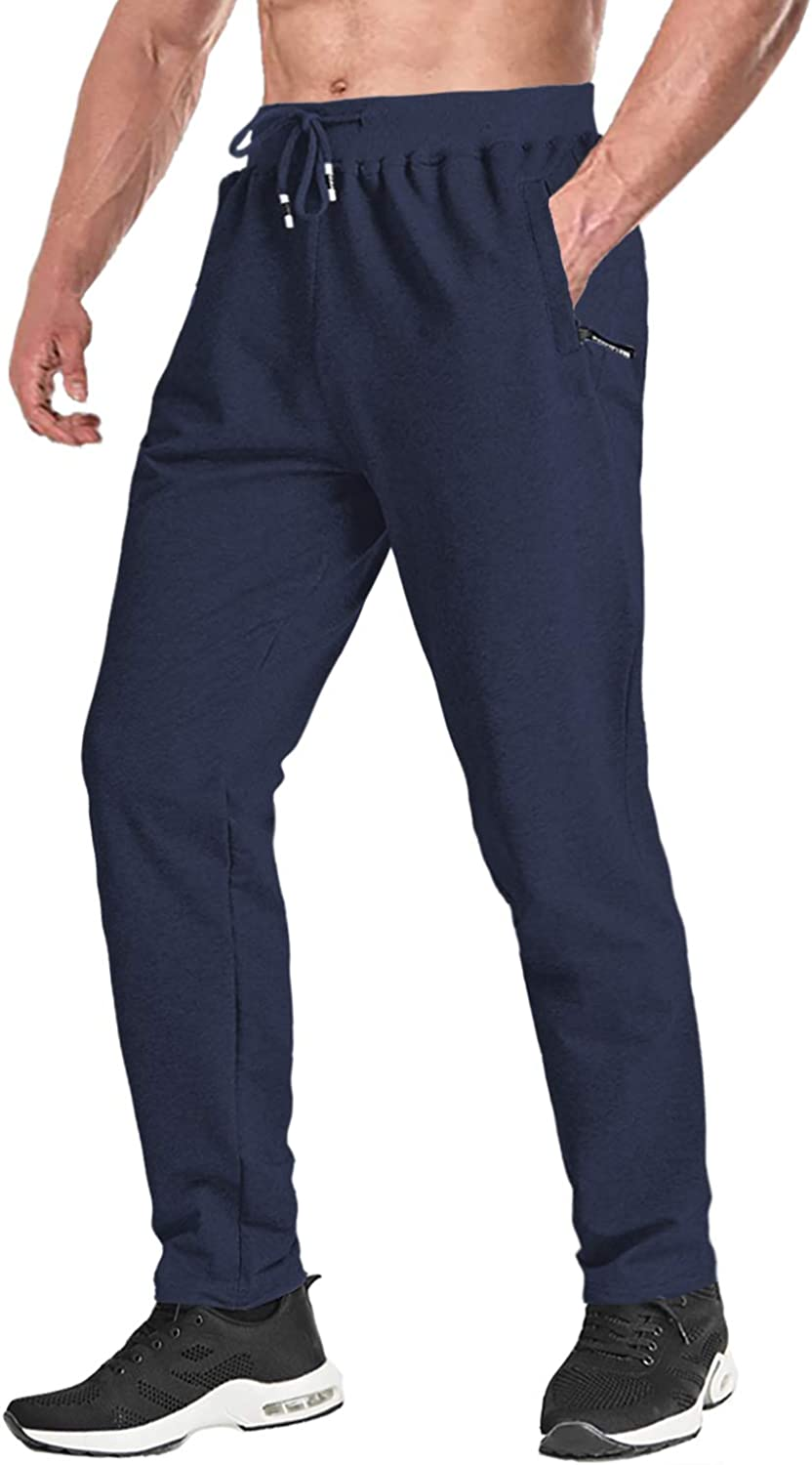 FASKUNOIE Men's Elastic Joggers Open Bottom Running Pants Comfortable Casual Trousers with Zipper Pockets: Clothing