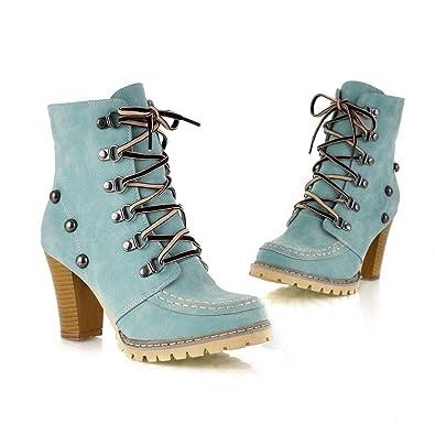 009cb092d5a9bf Tatis Shoes Einfarbige PU-Nieten mit Dekorativen Retro-Schuhen mit Hohem  Absatz Frauen Freizeit Nieten Schuhe Rutschfeste Schnür-High Heel Short Tube  Mode ...