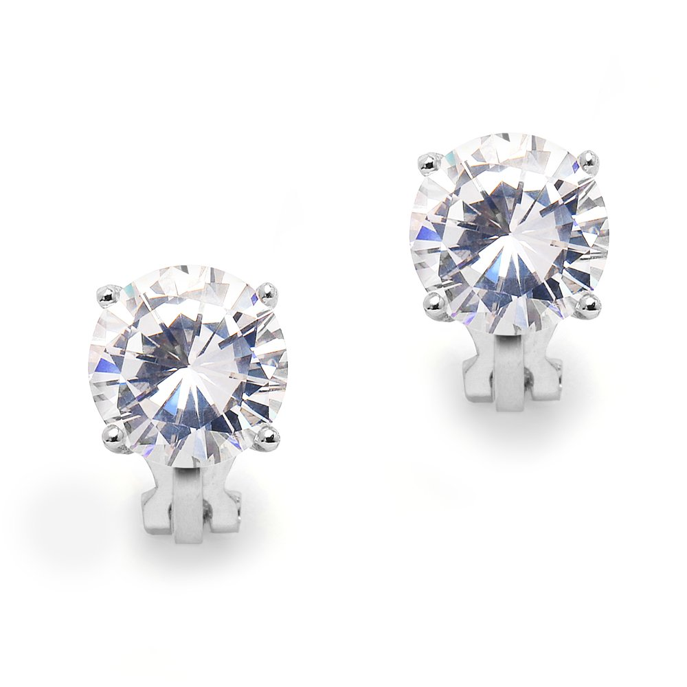 Mariell 3 Carat Cubic Zirconia Clip-On Stud Earrings - Bold 9.5mm Round-Cut Solitaires - Platinum Plated by Mariell