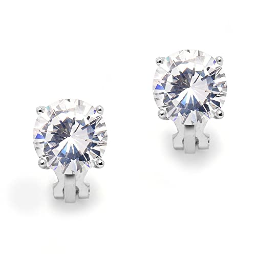 f97f1d62e3b90 Mariell 3 Carat Cubic Zirconia Clip-On Stud Earrings - Bold 9.5mm Round-Cut  Solitaires - Platinum Plated
