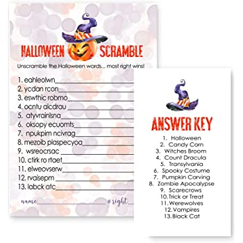 pumpkin halloween word scramble party game set of 25 cards orange and purple