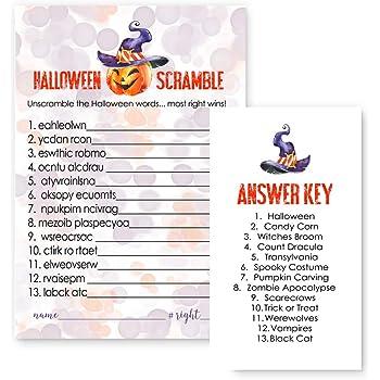 pumpkin halloween word scramble party game set of 25 cards orange and purple