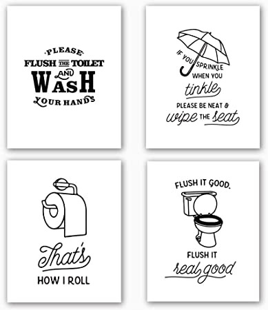 Bathroom Art Print Set Of 4 10 X8 Funny Black White Washroom Quotes Signs Toilet Decor With Lettering Painting Canvas Art Print Painting Poster For Bathroom Wall Art Home Decor No Frame Amazon Co Uk Kitchen