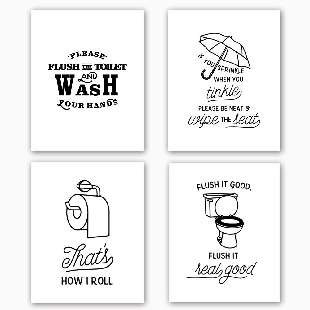 Bathroom art print set of 4 10x8funny black white washroom quotes signstoilet decor with lettering painting canvas art print painting poster for