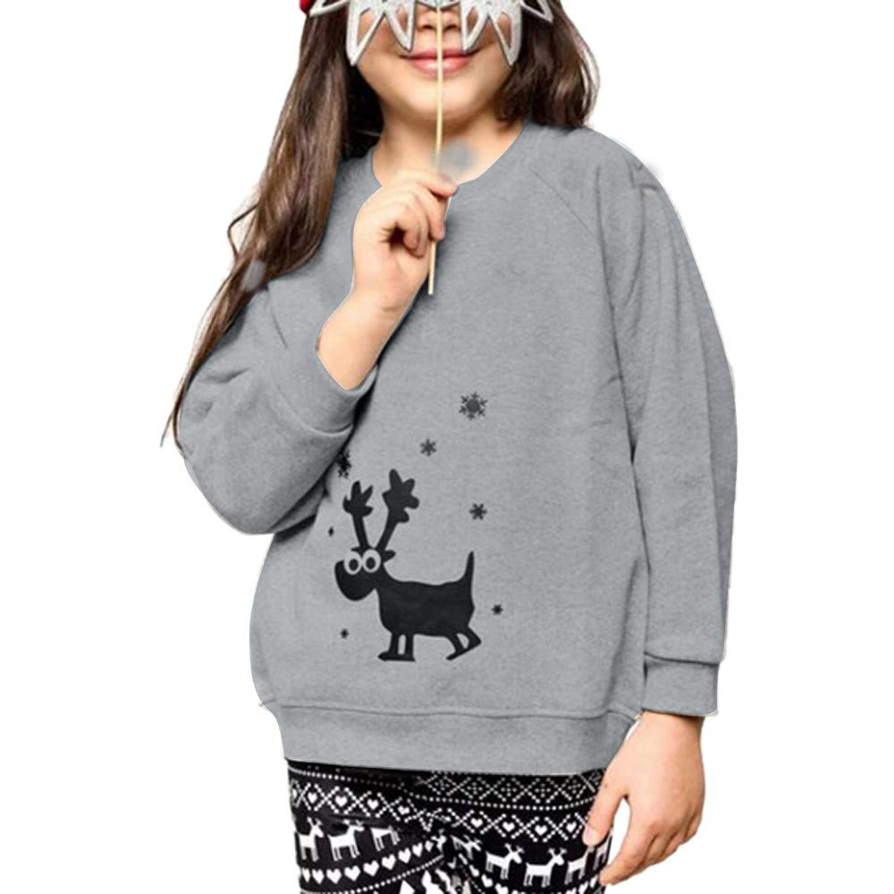 Kingspinner Winter Family Pajamas Christmas Matching Deer Print Long Sleeve T Shirt Tops Blouse (Grey, Kid Size:3-4 Years)