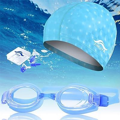 iiinsixfr PU imperméable Chapeau de natation Imperméable et anti-buée Lunettes de natation Unisexe