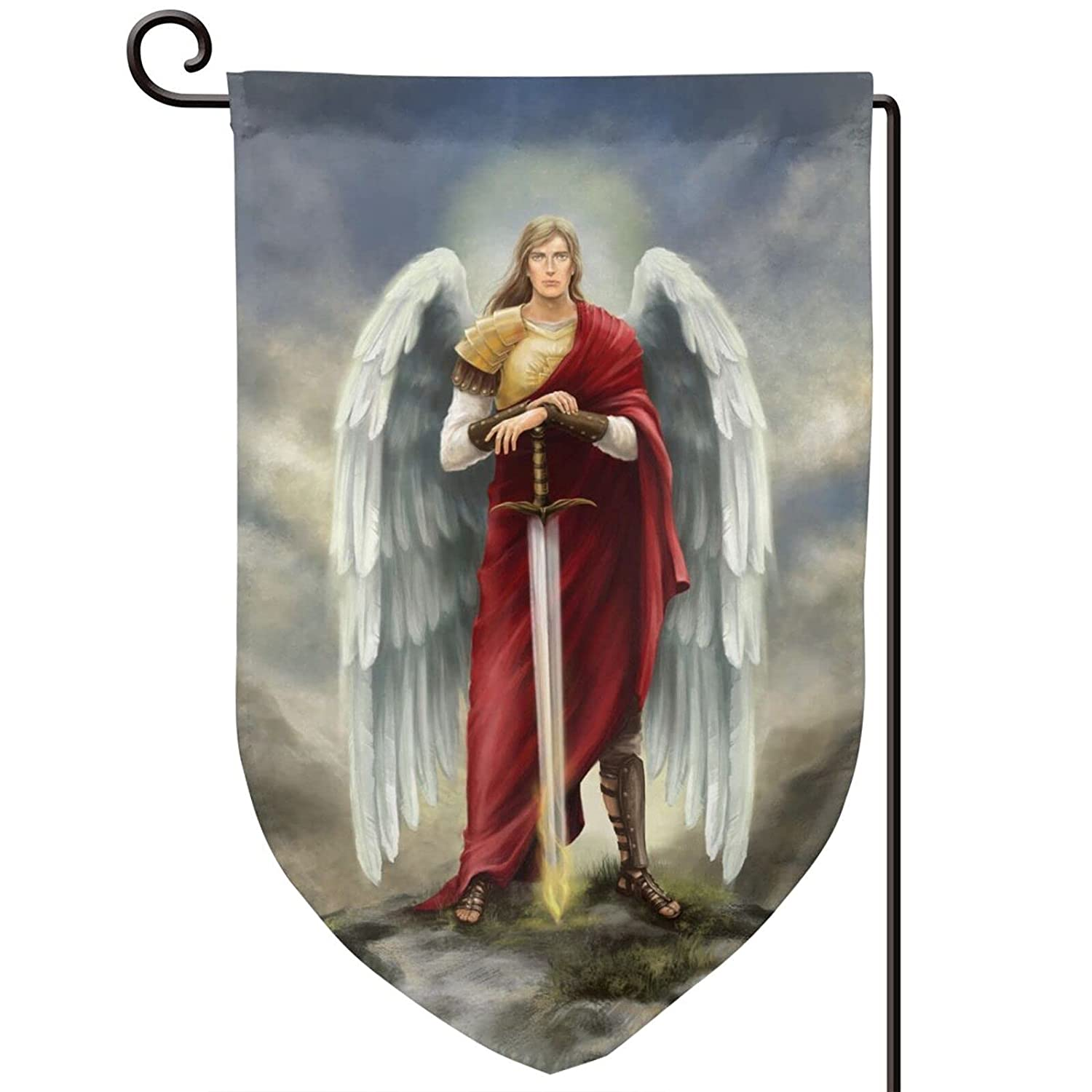 Archangel Michael Garden Flags Outside Flag Porch Patio Yard Flags Outdoor Decorative Banner 12.8x18in