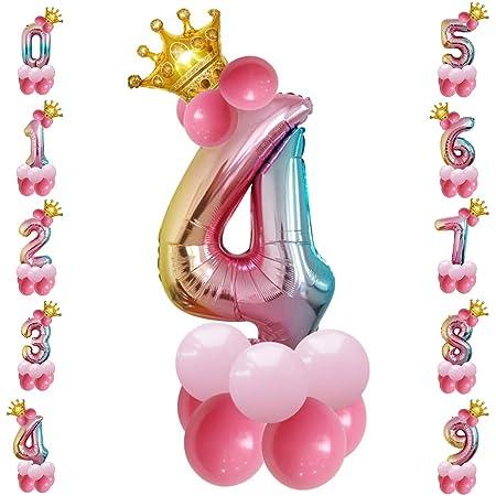 Tianhaik - Globo Gigante de Aluminio con números inflados con Purpurina para Fiestas de cumpleaños, decoración del hogar, Suministros de Fiesta, 4, 32 ...