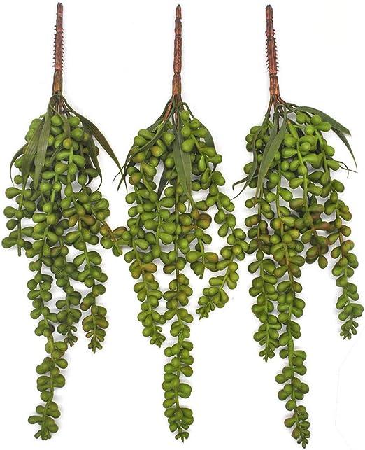 Plantas de hoja de Hiedra Artificial Suculenta 2Pcs Cadena de Perla Colgante Oficina Al Aire Libre