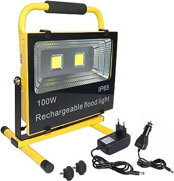 Foco LED 50//100//150 W con bater/ía y adaptador CA y cargador para coche.