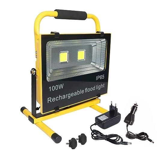 AUFUN Foco LED Exterior 100W Blanco Frío Foco Proyector LED Impermeable IP65 Batería Recargable Luz Trabajo Lámpara para pesca Reflector Calzada ...