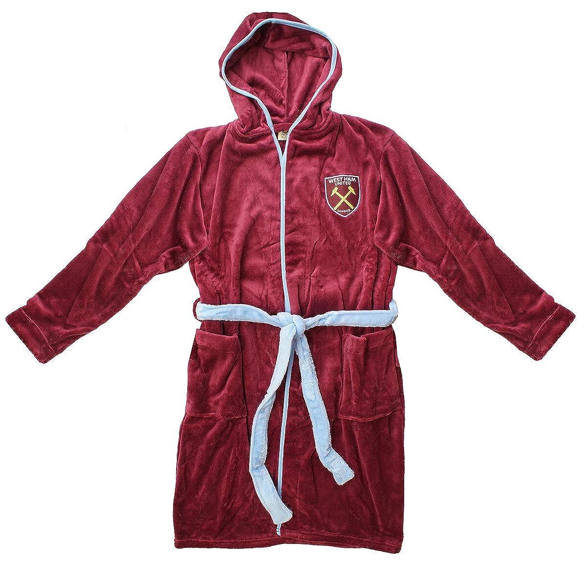 Mens Official WEST HAM United FC Fleece Dressing Gown Hooded Bathrobe Sizes S M L XL
