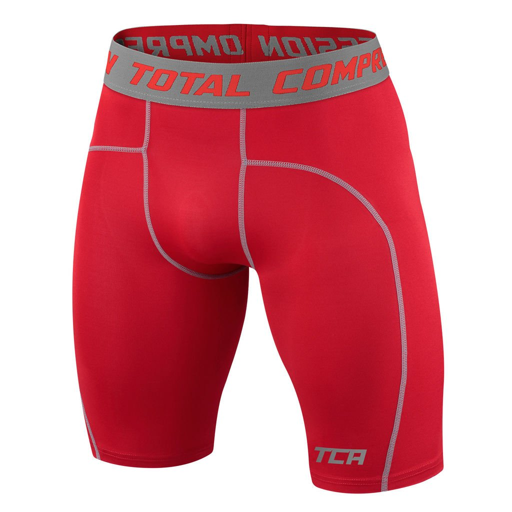 TCA Men's Boys Pro Performance Compression Base Layer Thermal Under Shorts - Team Red M by TCA