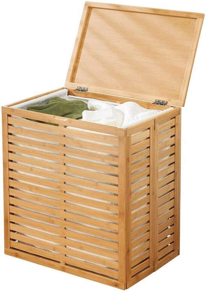 mDesign Bamboo Laundry Hamper Basket with Removable Fabric Liner and Decorative Wood Slats - Portable and Foldable for Compact Storage - Single Hamper Design - Natural Bamboo