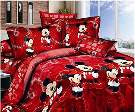 Mickey And Minnie Mouse King Queen Adults Cartoon Bedding Set Cotton Bed Sheet Linens Doona Duvet Cover Comforter Cover Sets Red Queen Amazon Co Uk Kitchen Home