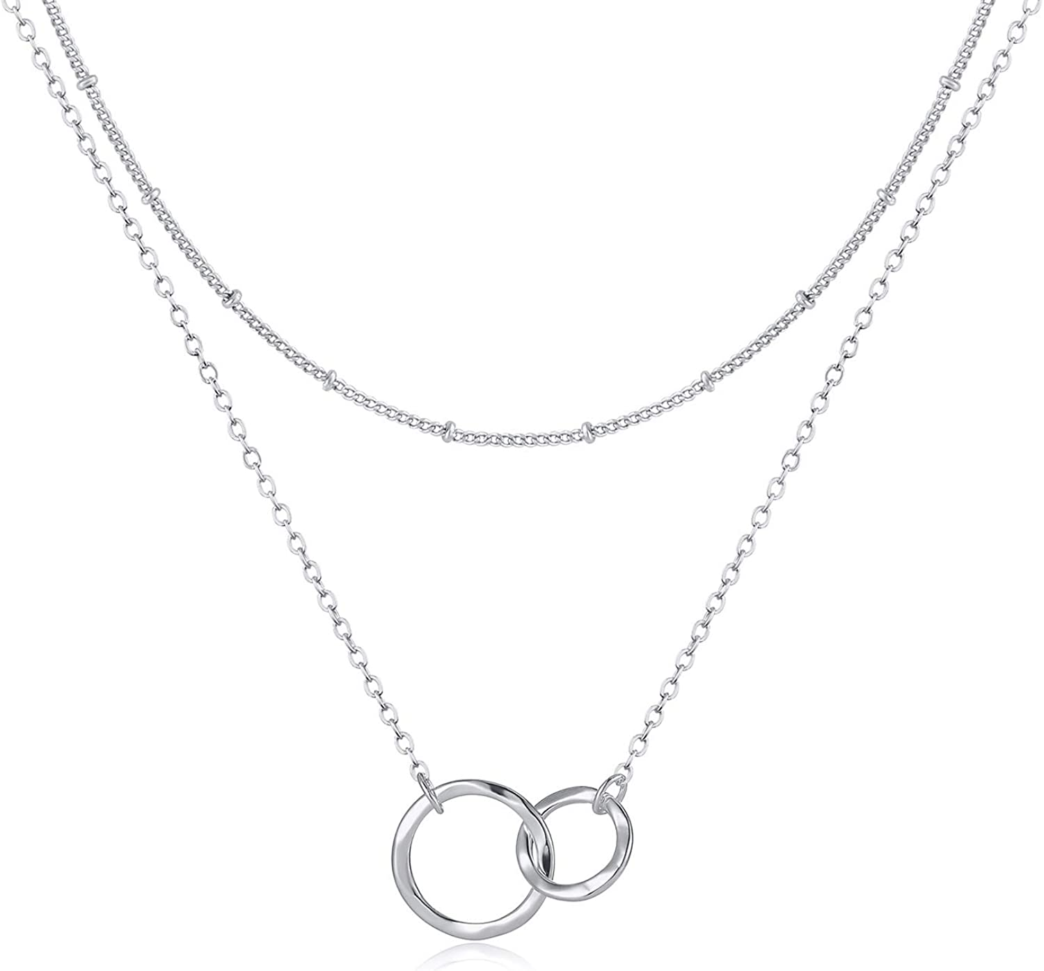 Fettero Layered Necklace Double Circle Generations Interlocking Infinity Hammered Pendant Dainty 14K Plated Minimalist Simple for Mother Daughter Sister Granddaughter Grandson Jewelry Gift