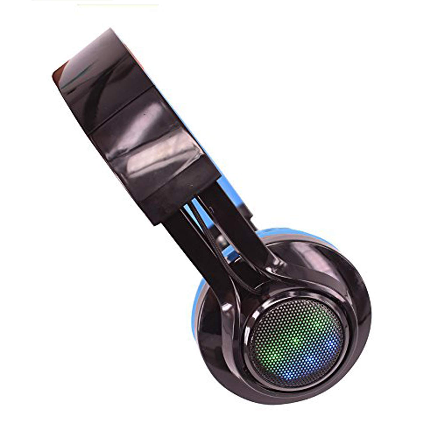 4In1 Wireless Bluetooth LED Stereo Headphone, FM Radio TF Card MP3 Point Headset + Microphone Waterproof Support Music Streaming Hands-Free Calling for iPhone iPad Tablet TV Smartphones (Blue)