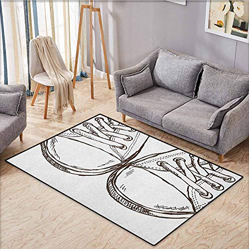 Kids Rug,Doodle,Sneakers in Hand Drawing Style Casual Footwear Teenager Urban Lifestyle Theme,Ideal Gift for Children,3'3