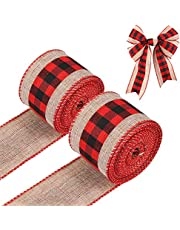 LUTER 2 Rolls6YardPlaid Ribbon Burlap Fabric for Crafts, Plaid Burlap Wired Ribbons Strap Christmas Decorations for DIY Crafts Making Countryside Style Bow-Knot (Black and Red)