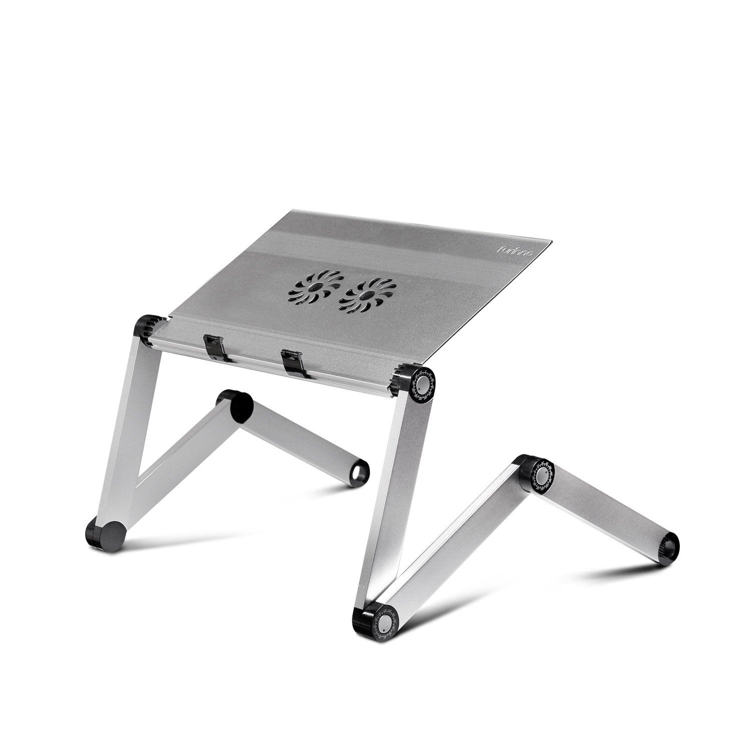 Furinno X7-SilverAluminum Adjustable Cooler Fan Laptop Table Portable Bed Tray, Silver