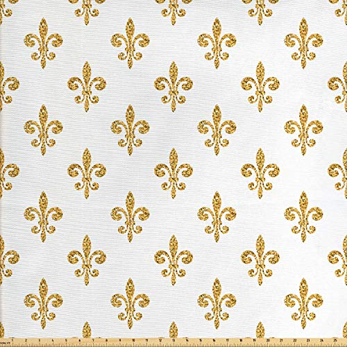 Fleur De Lis Upholstery - Ambesonne Fleur De Lis Fabric by The Yard, Vintage European Lily Aristocratic Dignified Majesty Print, Decorative Fabric for Upholstery and Home Accents, 1 Yard, Yellow White