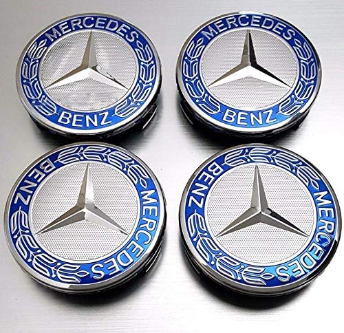 4 tapacubos de 75 mm con Forma de Estrella con Corona de Laurel Azul Efecto 3D para Mercedes Benz A17140001255337