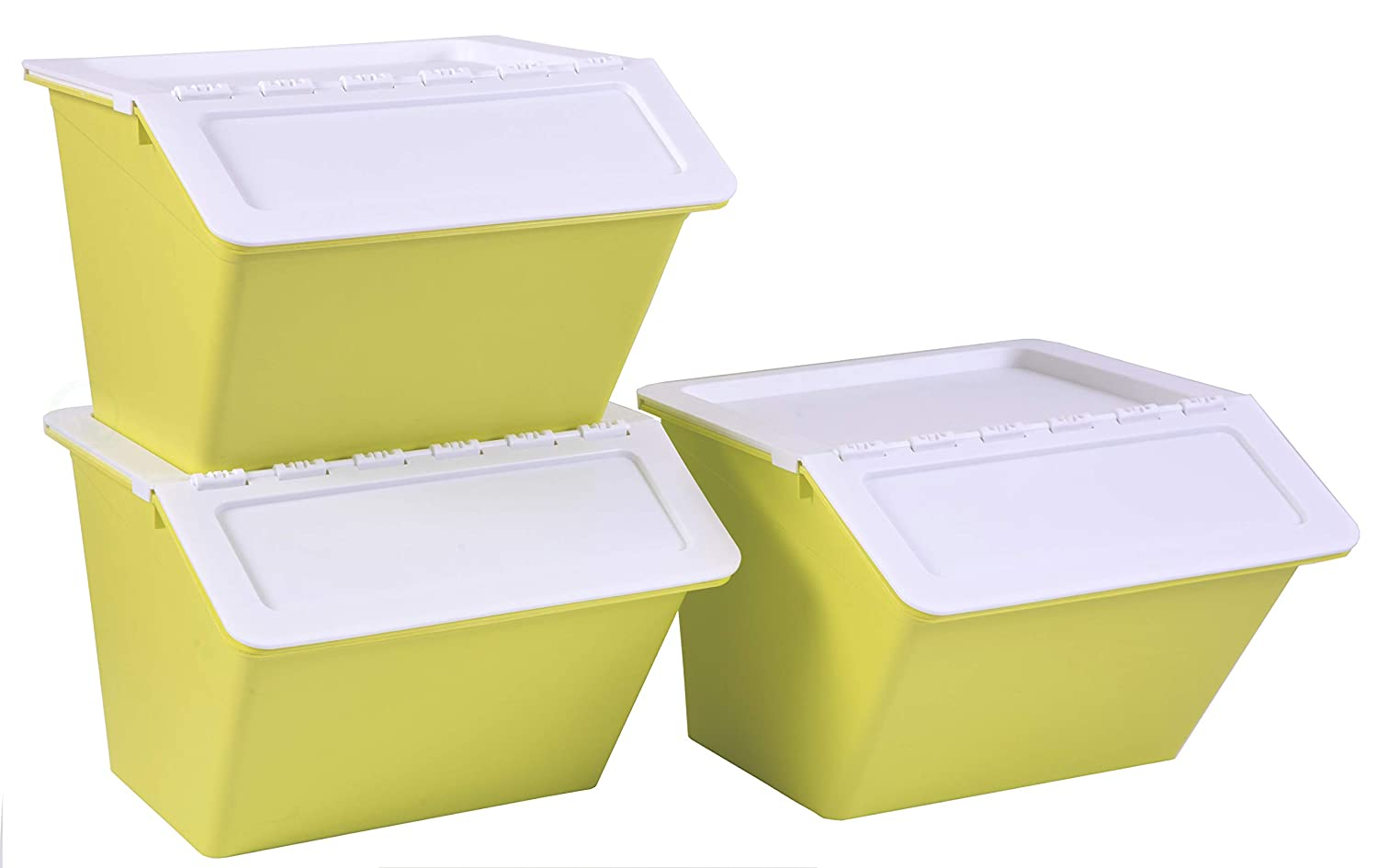 Basicwise QI003396.G Large Green Plastic Stackable Storage Bins