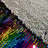 Pardecor Mermaid Fabric Rainbow to Silver 1 Yard Glitter Fabric Reversible Sequin Fabric Two Tone Sequin Fabric Sparkly Fabri